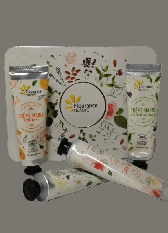 Coffret-Crèmes- Mains- Rose-Verveine-Mandarine-Jasmin-Bio-Fleurance-Nature