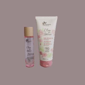 Coffret femme eau de parfum et gel douche rose bio Fleurance Nature