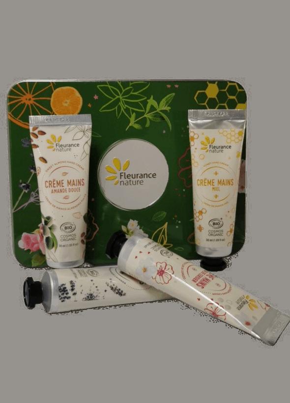 Coffret -Crèmes-Mains-Bio-Amande douce-Miel-Lavande-Cerisier-Fleurance-Nature