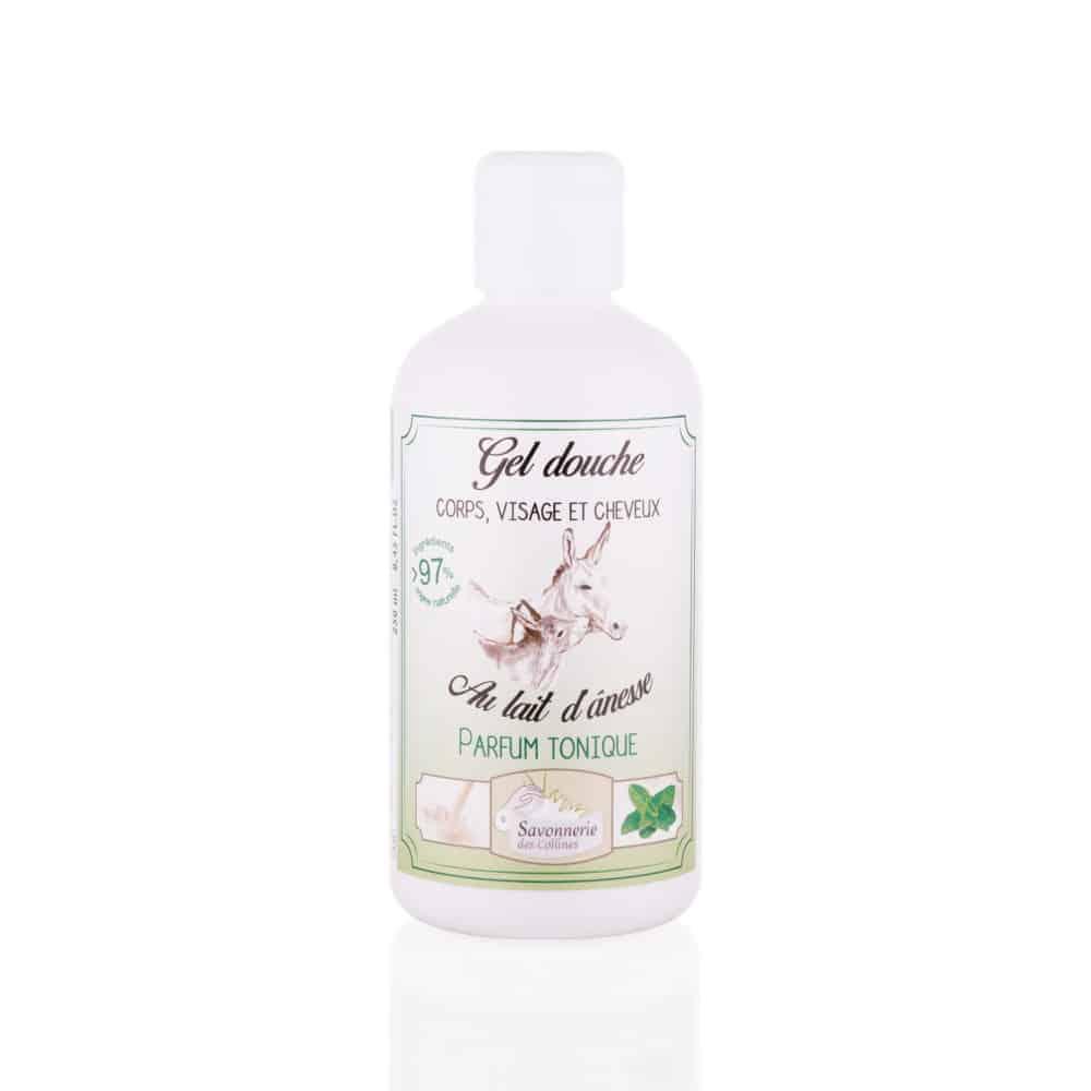 Gel douche visage corps cheveux parfum Tonique au lait d'ânesse bio - Savonnerie des Collines - 250ml