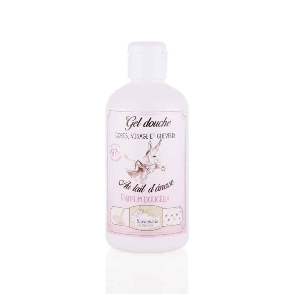 Gel douche visage corps cheveux parfum douceur au lait d'ânesse bio - Savonnerie des Collines - 250ml